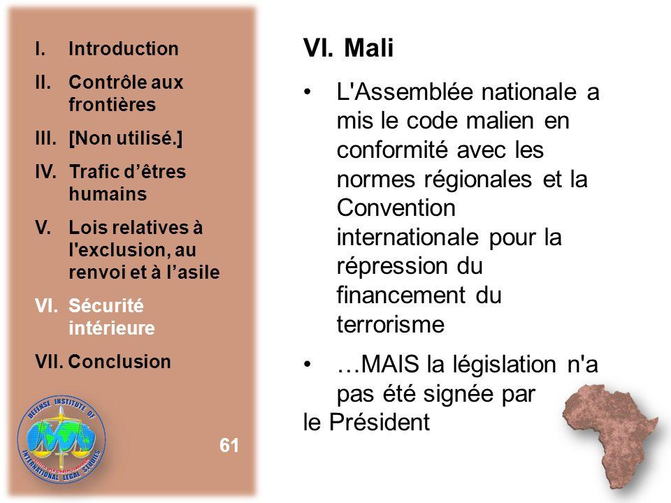 VI. Mali I. Introduction. II. Contrôle aux frontières. III. [Non utilisé.] IV. Trafic d'êtres humains.